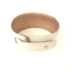 White Leather Wrist Band